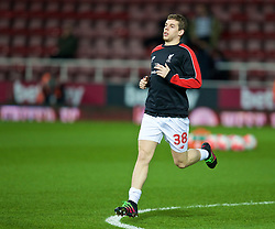 LONDON, ENGLAND - Tuesday, February 9, 2016: Liverpool's JON FLANAGAN warms-up before the FA Cup 4th Round Replay match against West Ham United at Upton Park. (Pic by David Rawcliffe/Propaganda)