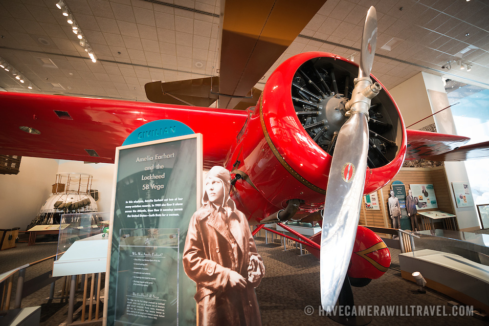 An exhibit on pioneering American aviator Amelia Earheart at the Smithsonian Institution's National Air and Space Museum on the National Mall in Washington DC. The Air and Space Museum, which focuses on the hsitory of aviation and space exploration, is one of the most visited museums in the world.