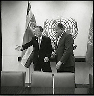 Luis Guillermo Solis Rivera, the President of Costa Rica, with United Nations Secretary General Ban Ki moon.