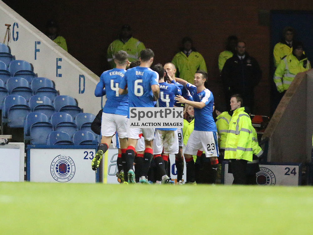 Rangers celebrate their goals  during the Rangers v Dumbarton  Scottish Championship  1 December 2015 <br /> <br /> (c) Andy Scott | SportPix.org.uk