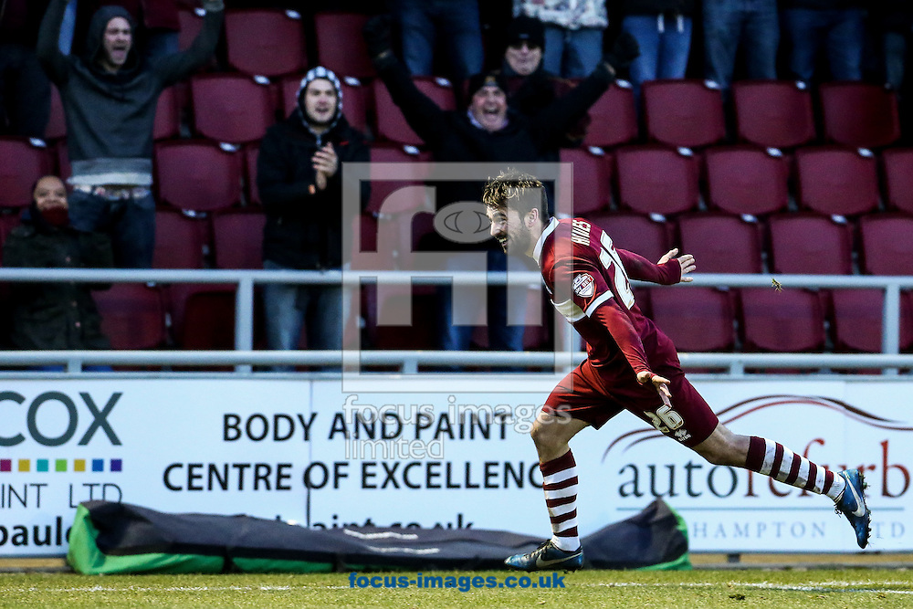 Ricky Holmes of Northampton Town celebrates after scoring their first goal during the Sky Bet League 2 match at Sixfields Stadium, Northampton<br /> Picture by Andy Kearns/Focus Images Ltd 0781 864 4264<br /> 17/01/2015