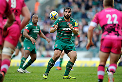 Riccardo Brugnara of Leicester Tigers receives the ball - Photo mandatory by-line: Patrick Khachfe/JMP - Mobile: 07966 386802 25/04/2015 - SPORT - RUGBY UNION - Leicester - Welford Road - Leicester Tigers v London Welsh - Aviva Premiership