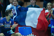 France's Kevin Tillie after volleyball match between France and Brazil during the 2014 FIVB Volleyball World Championships at Spodek in Katowice on September 20, 2014.