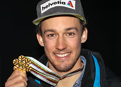 13.02.2017, St. Moritz, SUI, FIS Weltmeisterschaften Ski Alpin, St. Moritz 2017, alpine Kombination, Herren, Audi Lounge,  im Bild Luca Aerni (SUI, Herren Alpine Kombination Weltmeister und Goldmedaille) // men's Alpine Combined world Champion and Gold medalist Luca Aerni of Switzerland poses with his gold medal at audi lounge for the men's Alpine combination of the FIS Ski World Championships 2017. St. Moritz, Switzerland on 2017/02/13. EXPA Pictures © 2017, PhotoCredit: EXPA/ SM<br /> <br /> *****ATTENTION - OUT of GER*****