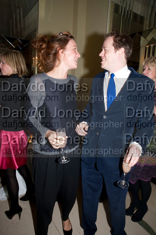 KATE GOLDSMITH; TOM PARKER BOWLES, Book launch of Lady Annabel Goldsmith's third book, No Invitation Required. Claridges's. London. 11 November 2009
