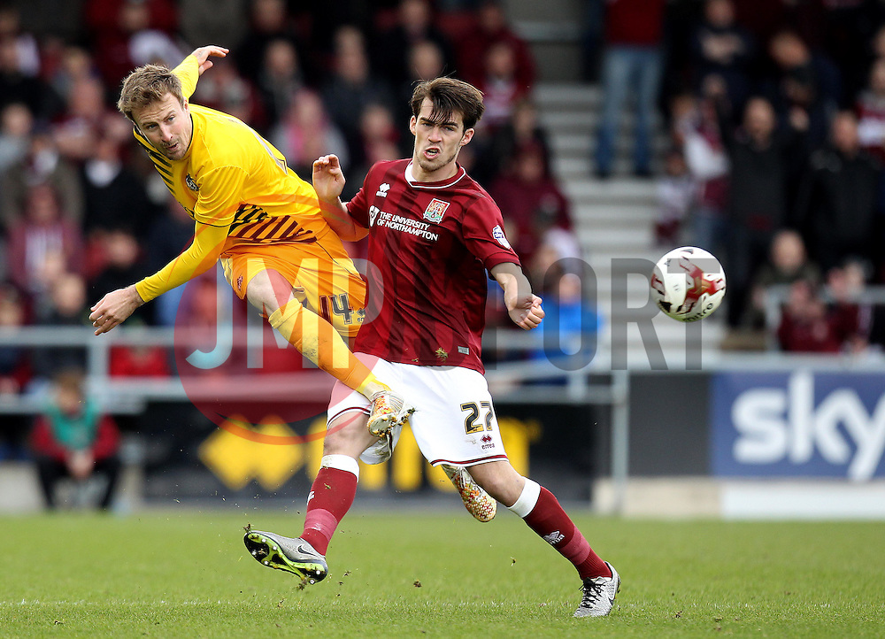 Chris Lines of Bristol Rovers passes the forward past John Marquis of Northampton Town - Mandatory by-line: Robbie Stephenson/JMP - 09/04/2016 - FOOTBALL - Sixfields Stadium - Northampton, England - Northampton Town v Bristol Rovers - Sky Bet League Two