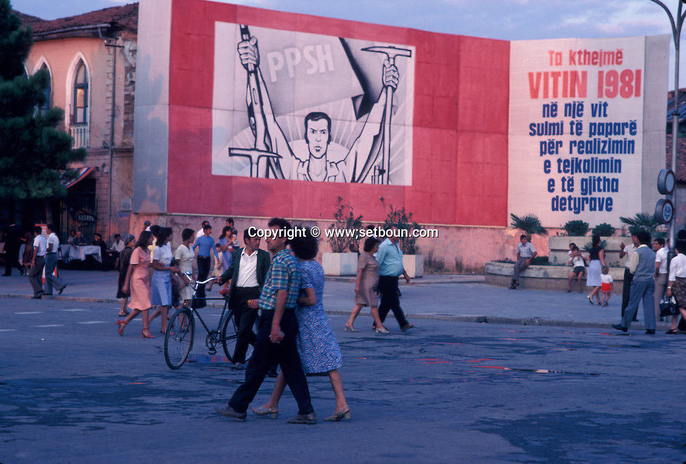 Abania in 1981 under the communist regime. Shkoder. Skodra posters glorifying the communist party and the regime