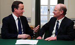 Leader of the Conservative Party David Cameron with David Willetts.Member of Parliament for Havant in his office in Norman Shaw South, January 18, 2010. Photo By Andrew Parsons / i-Images.
