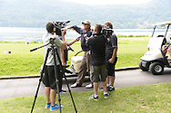 "COOPERSTOWN, NY - JULY 26: Hall of Famer Catlton Fisk speaks with the media during the annual ""Hall of Fame Golf Classic"" at the Leatherstocking Golf Club in Cooperstown, New York on July 26, 2014."