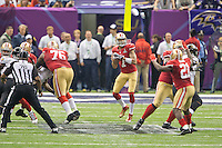 3 February 2013: Quarterback (7) Colin Kaepernick of the San Francisco 49ers drops back to pass against the Baltimore Ravens during the second half of the Ravens 34-31 victory over the 49ers in Superbowl XLVII at the Mercedes-Benz Superdome in New Orleans, LA.