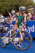Emma Moffatt AUS.Womens ITU Race.2011 Dextro Energy Triathlon ITU World Championship Sydney.Sydney, New South Wales, Australia..Hosted By USM Events.Proudly Supported By Asics, Dextro, Suunto, Events New South Wales, Subaru, USM Events..10/04/2011.Photo Lucas Wroe