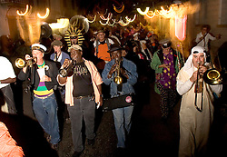 October 31, 2005. New Orleans, Louisiana. <br /> Halloween, post Katrina, New Orleans. As the city returns to a strange sense of normalcy and the citizens return, New Orleans once again hosts a Halloween parade and party. The Storyville Stompers brass band lead the parade. Photo; ©Charlie Varley/varleypix.com