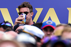 Star of BBC 5Live podcast 'Tailenders' Matt Horan aka Mattchin Tendulkar watches the Cricket World Cup final between England and New Zealand - Mandatory by-line: Robbie Stephenson/JMP - 14/07/2019 - CRICKET - Lords - London, England - England v New Zealand - ICC Cricket World Cup 2019 - Final