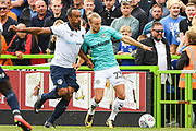 Forest Green Rovers Joseph Mills(23) and Oldham Athletic Chris O'Grady (10) battle for the ball during the EFL Sky Bet League 2 match between Forest Green Rovers and Oldham Athletic at the New Lawn, Forest Green, United Kingdom on 11 August 2018.