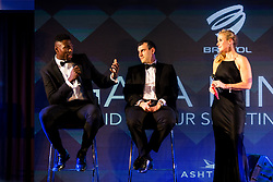 Daniel Edozie and Coach Andreas Kapoulas of Bristol Flyers take to the stage as Bristol Sport hosts their annual Gala Dinner at Ashton Gate Stadium - Rogan/JMP - 05/12/2018 - SPORT - Ashton Gate Stadium - Bristol, England - Bristol Sport Gala Dinner 2018.