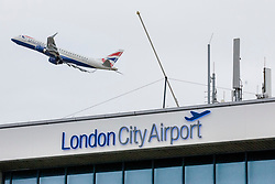 © Licensed to London News Pictures. 05/03/2019. London, UK. A flight takes off from London City Airport where police were called to reports of a suspicious package. Suspicious packages have also been found at Heathrow Airport and London Waterloo Station. Photo credit: Rob Pinney/LNP