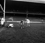 27/03/1966<br /> 03/27/1966<br /> 27 March 1966<br /> National Hurling League, Division II: Antrim v Kerry at Croke Park, Dublin. <br /> Kerry's first goal: The umpire is about to signal a goal as the ball from T. Nolan (center) goes over the line.