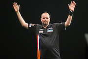 Raymond van Barneveld wins a leg  during the Premier League Darts  at the Motorpoint Arena, Cardiff, Wales on 31 March 2016. Photo by Shane Healey.