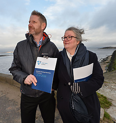 Michael Avril, Chairman of Water Safety Scotland and Gillian Barclay from Burntisland, whose 18 year old son Cameron Lancaster drowned at a disused quarry in Inverkeithing in 2014, launches the Drowning Prevention Strategy at Crammond Beach. The strategy aims to half the number of accidental drownings in Scotland by 2026.<br /> <br /> &copy; Dave Johnston/ EEm