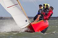 England, Burnham-on-Crouch. 25th August 2012. Burnham Week. Royal Burnham One Design fleet. Red Jacket, RBOD2