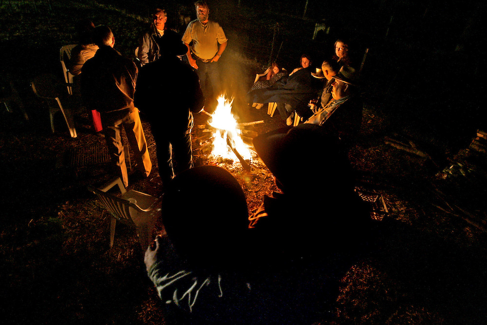 After a Cowboy Church service ends, a fireside fellowship begins. Members huddle around a warm fire and cook hot dogs, marshmallows and share stories. Jeff Smith says fellowship of the Cowboy Church keeps the members closer to each other and helps the church grow.