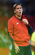 SEVILLE, SPAIN - OCTOBER 28:  Head Coach of Sevilla FC Eduardo Berizzo reacts during the La Liga match between Sevilla and Leganes at  Estadio Sanchez Pizjuan on October 28, 2017 in Seville, .  (Photo by Aitor Alcalde Colomer/Getty Images)