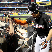 NEW YORK, NEW YORK - July 05: Giancarlo Stanton #27 of the Miami Marlins celebrates with team mates on his return to the dugout after hitting a three run homer in the eighth inning during the Miami Marlins Vs New York Mets regular season MLB game at Citi Field on July 05, 2016 in New York City. (Photo by Tim Clayton/Corbis via Getty Images)