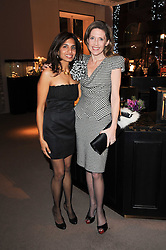Left to right, DIVIA CADBURY and ZOE LEY at a party to celebrate the publication of Nathalie von Bismarck's book 'Invisible' held at Asprey, 167 New Bond Street, London on 9th December 2010.