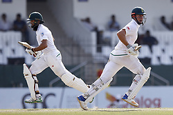 July 22, 2018 - Colombo, Sri Lanka - South African cricketers Theunis de Bruyn and Hashim Amla run between the wickets during the 3rd day's play in the 2nd test cricket match between Sri Lanka and South Africa at SSC International Cricket ground, Colombo, Sri Lanka on Sunday  22 July 2018  (Credit Image: © Tharaka Basnayaka/NurPhoto via ZUMA Press)