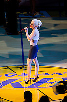 17 June 2010: Christina Aguilera sings the National Anthem before the Los Angeles Lakers 83-79 championship victory over the Boston Celtics in Game 7 of the NBA Finals at the STAPLES Center in Los Angeles, CA.