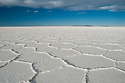 Hexagonal shapes, Salar de Uyuni salt flat