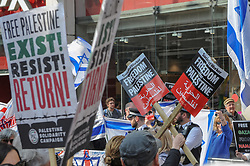 Exist! Resist! Return! Demonstrators gathered near to the Israeli Consulate in London to Rally for Palestine as part of the global day of action campaign on the anniversary of the start of weekly protests in Palestine.<br /> <br /> Richard Hancox | EEm 30032019