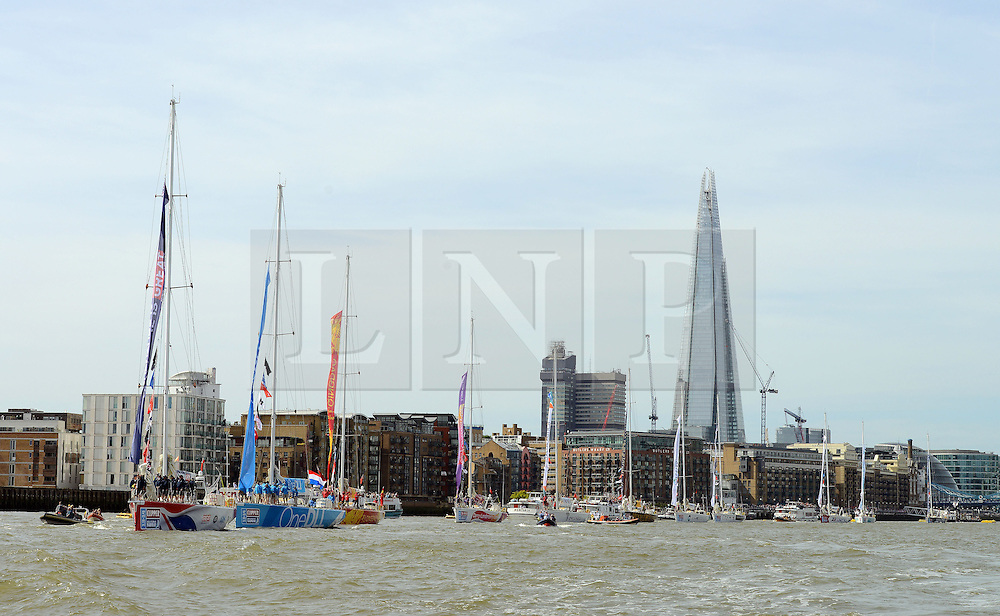 © Licensed to London News Pictures. 01/09/2013. London, UK The Start of The Clipper Round the World Race. The Clipper GREAT BRITAIN leads the fleet of 12 clippers as they set out from London. Photo credit : Mike King/LNP