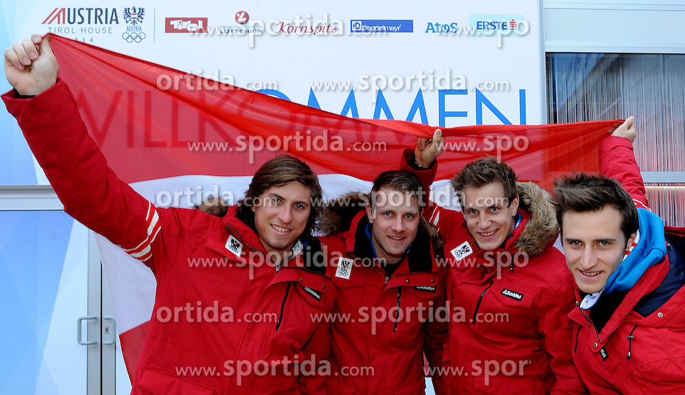 12.02.2014, Austria Tirol House, Krasnaya Polyana, RUS, Sochi, 2014, im Bild das Super Kombi Team vl Max Franz, Romed Baumann, Otmar Striedinger, Matthias Mayer // das Super Kombi Team vl Max Franz, Romed Baumann, Otmar Striedinger, Matthias Mayer during the Olympic Winter Games Sochi 2014 at the Austria Tirol House in Krasnaya Polyana, Russia on 2014/02/12. EXPA Pictures © 2014, PhotoCredit: EXPA/ OeOC/ Erich Spiess