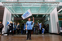 © Licensed to London News Pictures. 13/10/2014. LONDON, UK. Midwives of University College Hospital in London joining a four-hour NHS strike, which involves nurses, midwives and ambulance staff in England in a dispute over pay. Photo credit : Tolga Akmen/LNP