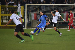 November 3, 2018 - Vercelli, Italy - Italian defender Andrea Sbraga from Novara Calcio team playing during Saturday evening's match against Pro Vercelli team valid for the 10th day of the Italian Lega Pro championship and Italian strick Claudio Morra from Pro Vercelli team playing during Saturday evening's match against Novara Calcio valid for the 10th day of the Italian Lega Pro championship  (Credit Image: © Andrea Diodato/NurPhoto via ZUMA Press)