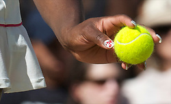 LONDON, ENGLAND - Tuesday, June 29, 2010: Serena Williams (USA), who is training to be a Nail Technician wears sparkling nails, during the Ladies' Singles Quarter-Final match on day eight of the Wimbledon Lawn Tennis Championships at the All England Lawn Tennis and Croquet Club. (Pic by David Rawcliffe/Propaganda)