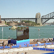 A panoramic image of the cycle leg of the Men's triathlon with the Sydney Harbour Bridge providing a stunning backdrop during the  2000 Sydney Olympic Games...Panoramic images from the Sydney Olympic Games, Sydney, Australia. 2000 . Photo Tim Clayton