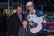 KELOWNA, CANADA - JANUARY 17:  Andres Presentation with Conner Bruggen-Cate #20 of the Kelowna Rockets at the Kelowna Rockets game on January 17, 2018 at Prospera Place in Kelowna, British Columbia, Canada.  (Photo By Cindy Rogers/Nyasa Photography,  *** Local Caption ***