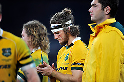 Rob Horne of Australia looks dejected after the match - Photo mandatory by-line: Patrick Khachfe/JMP - Mobile: 07966 386802 29/11/2014 - SPORT - RUGBY UNION - London - Twickenham Stadium - England v Australia - QBE Internationals