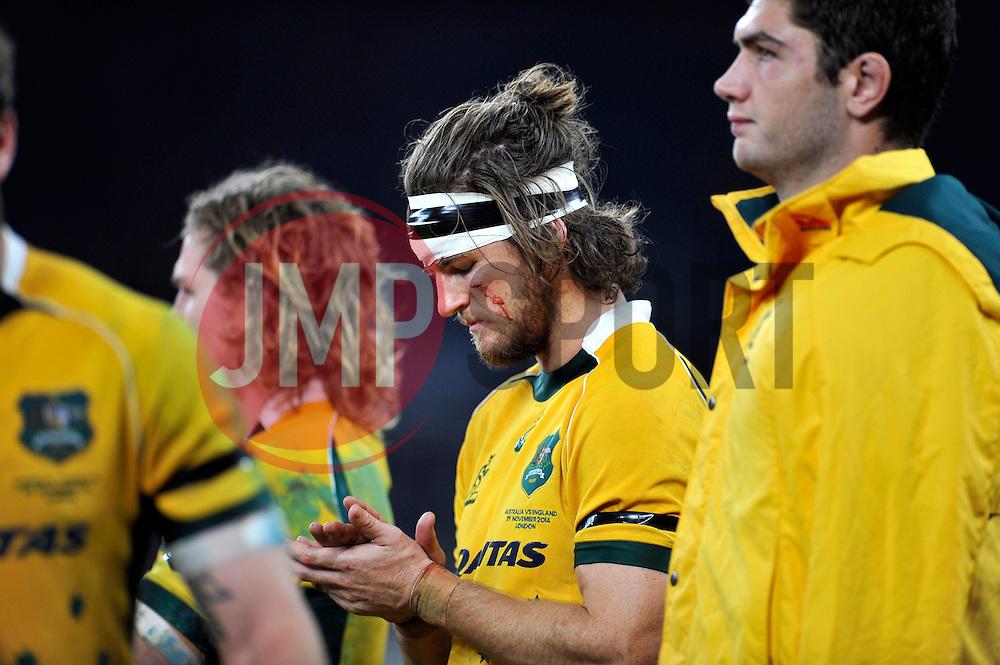 Rob Horne of Australia looks dejected after the match - Photo mandatory by-line: Patrick Khachfe/JMP - Mobile: 07966 386802 29/11/2014 - SPORT - RUGBY UNION - London - Twickenham Stadium - England v Australia - QBE Internationals