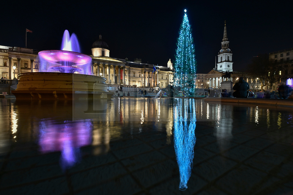 © Licensed to London News Pictures. 07/12/2017. London, UK.  The ceremony takes place for the annual lighting of the Christmas Tree in Trafalgar Square.  The tree, a Norwegian spruce, is donated by the City of Oslo to the people of London each year as a token of gratitude for Britain's support during the Second World War.  Photo credit: Stephen Chung/LNP