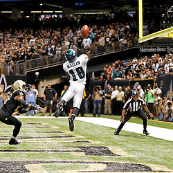 November 5, 2012; New Orleans, LA, USA; Philadelphia Eagles wide receiver Jeremy Maclin (18) is unable to hold on to a pass in the endzone as New Orleans Saints cornerback Patrick Robinson (21) defends during the third quarter of a game at the Mercedes-Benz Superdome. The Saints defeated the Easgles 28-13. Mandatory Credit: Derick E. Hingle-US PRESSWIRE