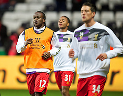 6.09.2013, Liberty Stadion, Swansea, ENG, Premier League, Swansea City vs FC Liverpool, 4. Runde, im Bild Liverpool's Victor Moses warns-up during the English Premier League 4th round match between Swansea City AFC and Liverpool FC at the Liberty Stadium, Swansea, Great Britain on 2013/09/16. EXPA Pictures © 2013, PhotoCredit: EXPA/ Propagandaphoto/ David Rawcliffe<br /> <br /> ***** ATTENTION - OUT OF ENG, GBR, UK *****