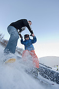 Winter sports in Iceland. Having fun in Akureyri, Iceland.