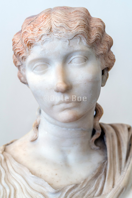 ancient female marble Roman head at the National Archaeological Museum Naples