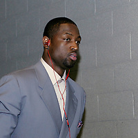 07 June 2012:  Miami Heat shooting guard Dwyane Wade (3) arrives at the TD Garden for Game 6 of the Eastern Conference Finals playoff series, at the TD Banknorth Garden, Boston, Massachusetts, USA.