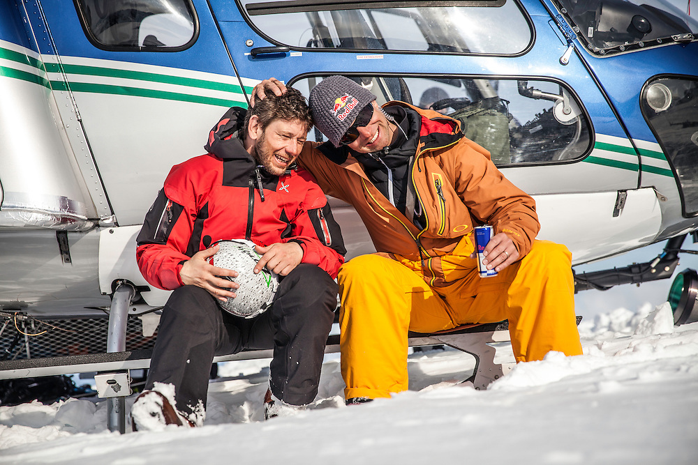 Filippo Fabbi and Jon Devore celeberate after a good run during the making of The Unrideables in the Tordrillo Mountains near Anchorage, Alaska on April 29th, 2014.