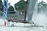 JP Morgan sponsored BAR team competing in day two of the Extreme Sailing Series regatta being sailed in Singapore. 21/2/2014
