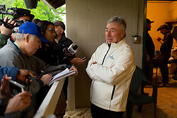 Kentucky Derby 142 winner Nyquist's owner Paul Reddam talked to a handful of journalists and fans at his barn on the backside the morning after the race, Sunday, May 08, 2016 at Churchill Downs in Louisville.